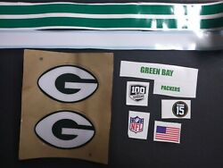Green Bay Packers Tb F/s Football Helmet Decal W/ 💯 Season And 15 B. Starr Decals