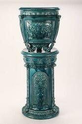Antique Wedgwood Majolica Green Jardiniere On Stand 40 Tall