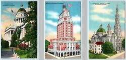 3 Postcards Sacramento Ca State Capitol Elks Club Cathedral Blessed Sacrament