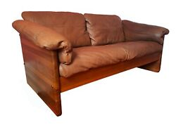 Danish Teak And Leather 2 Seater Sofa From A/s Mikael Laursen 1960s