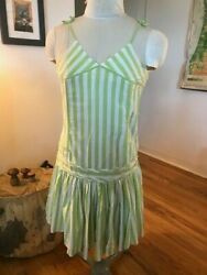 Vintage United Colors of Benetton Summer Dress Striped Green White Beach Small $45.00