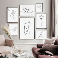 Nordic Line Drawing Canvas Wall Art Painting Abstract Poster Modern Home Decor