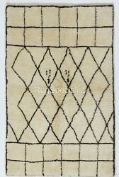 Contemporary Moroccan Rug 100 Natural Undyed Wool. Custom Options Available