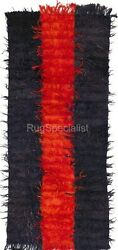 Plain Tulu Rug Made Of Blackandred Overdyed Mohair Wool, Custom Options A.