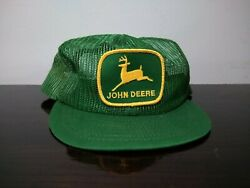 Vintage JOHN DEERE Patch  All Mesh Snapback Trucker Hat  Cap Made in USA $85.00