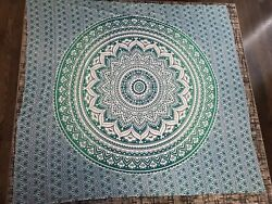 Blue Green Ombre Tapestry Hanging Indian Mandala Wall Art College Dorm Decor