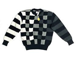 Vintage Issey Miyake Mens Knit Sweater Black And White Long Sleeve Nwt