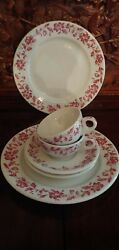 Shenango China Restaurant Ware Red Floral Pattern Complete 6 Piece Set...