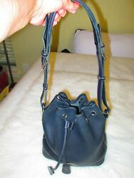 DOONEY amp; BOURKE Black Drawstring Bucket Leather Handbag $47.00