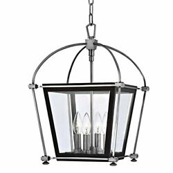 Hollis 4-light Pendant - Polished Nickel Finish With Clear Glass Shade