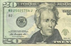 Mb25025754j Repeater Twenty Dollar Note Bill Highly Collectable Note Hot Item