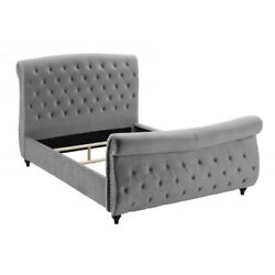Contemporary Gray Velour Tufted Headboard/footboard Nailheads Queen Size Bed 1pc