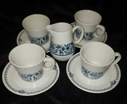4 Noritake Progression China Blue Moon 9022 Coffee Cups And Saucers Plus Creamer