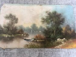 Early 20th Century William Henry Chandler Landscape Oil Painting On Canvas