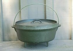 American Outback Cast Iron Camp Dutch Oven W Lid 3 Legs Camping Cookware Tool