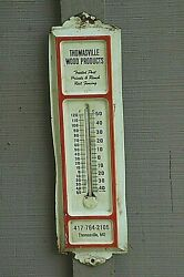 Old Vintage Advertising Tin Thermometer Thomasville Mo Wood Products Wall Mount