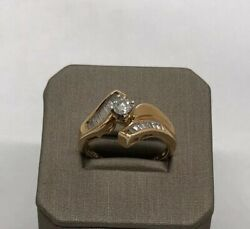 Genuine Baguette Diamond 14k Solid Yellow Gold Ring Fine Jewelry Size 7
