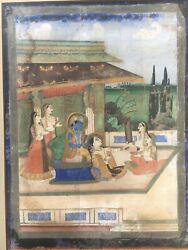 An Antique Indian Painting Of Rama Sita And Consorts. Late Or Middle 19 Cent