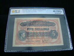 East Africa 1938-42 5 Shillings Banknote Pick 28a Pcgs Graded Xf 40 Ppq