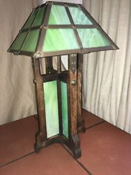 Rare- Vintage Green Slag Glass Arts And Crafts/mission Lamp Circa Early 1900and039s