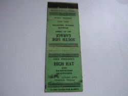 Pete Stewartand039s High Hat And South Side Garage Texaco Temple Texas Matchcover Tx