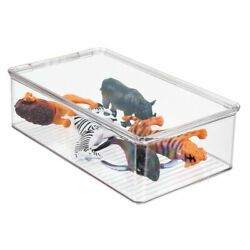 mDesign Plastic Stackable Toy Storage Bin Box with Lid 3quot; High Clear