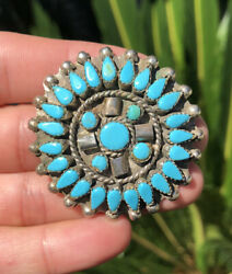 2 Vtg Navajo Sterling Silver And Turquoise Petit Point Cluster Brooch Pendant