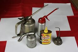 5 Vintage Oil Cans, Oilers, Liquid Wrench