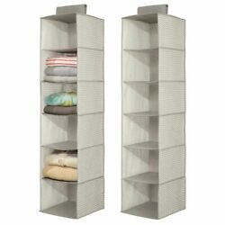 mDesign Long Fabric Over Closet Rod Hanging Organizer 6 Shelves 2 Pack Taupe $19.99