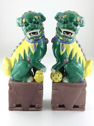 Hand Painted Oriental Porcelain Chinese Foo Dog Figure Statues Book Ends R172