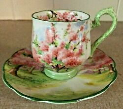 Royal Albert Blossom Time Demitasse Cup And Saucer Green Trim Very Rare