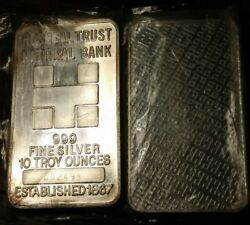Very Rare 10 Ounce Silver Bar Hospital Trust National Bank Low Number 002498