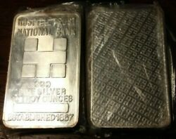 Very Rare 10 Ounce Silver Bar Hospital Trust National Bank Low Number 002499