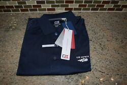 Cutter And Buck Junction Stripe Hybrid Polo Navy Striped L Us Open - Mck09165