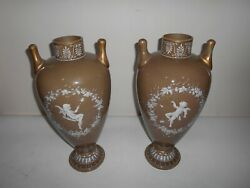Large 19th Century French Pate De Verre Glass Vases With Cupid Decoration.