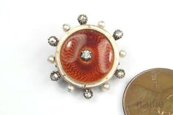 Antique 15k Gold Red Enamel Diamond And Pearl Brooch Pendant Child And Child C1900