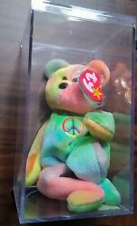 The Original Rare And Retired Vintage Peace ☮️ Bear Beanie Baby W/display Case