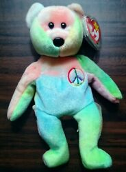 Peace ✌️ Bear Beanie Baby - Rare And Retired Vintage Mint With Good Vibes