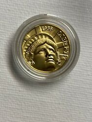 Us 1986-w Unc. Statue Of Liberty 5 Proof Gold Coin - .2418 Oz .900 Pure Gold
