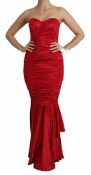 Dolce And Gabbana Dress Silk Red Bodycon Mermaid Tube Gown It38/ Us4/ Xs Rrp 5000