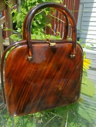 Vintage Mid Century Lucite Purse With Small Mirror Signed Llewellyn