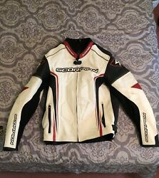 Scorpion Clutch Leather Jacket White Red Large $350.00