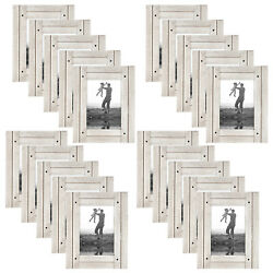 Americanflat 5 X 7 Photo Picture Frames Hanging Easel Stand White Wood 20 Pack