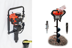 43cc Hand Held Earth Auger Post Digger W 8 Bit And 33cc Post Pounder