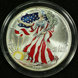 American Silver Eagle Dollar Uncirculated Colorized 1999 Liberty Full Color 1