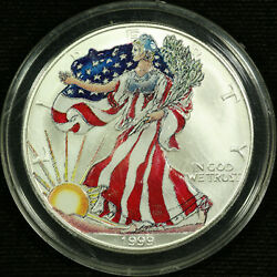 American Silver Eagle Dollar Uncirculated Colorized 1999 Liberty Full Color 2