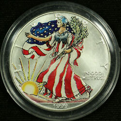 American Silver Eagle Dollar Uncirculated Colorized 1999 Liberty Full Color 3