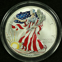 American Silver Eagle Dollar Uncirculated Colorized 1999 Liberty Full Color 4