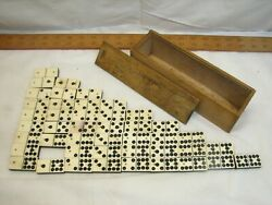 Antique Set Ebony And Steer Bone Dominoes Set Wooden Box Double Eight Brass Pin