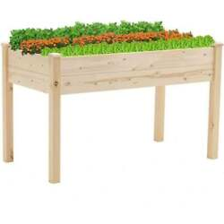 Wood Raised Garden Bed Elevated Planter Box Gardening Planting Vegetables Patio
